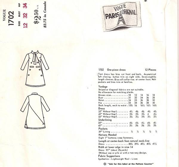 Pierre Cardin Vogue 1702 Tent Dress Pattern Bust 32 - Click Image to Close