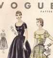 1950's Vogue 8157 Scoop Neckline, Full Skirt Dress Pattern B32