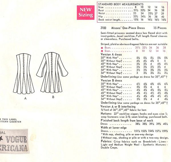 Bill Blass 1960's Vogue 2100 Godet Flare Dress Pattern Bust 32.5