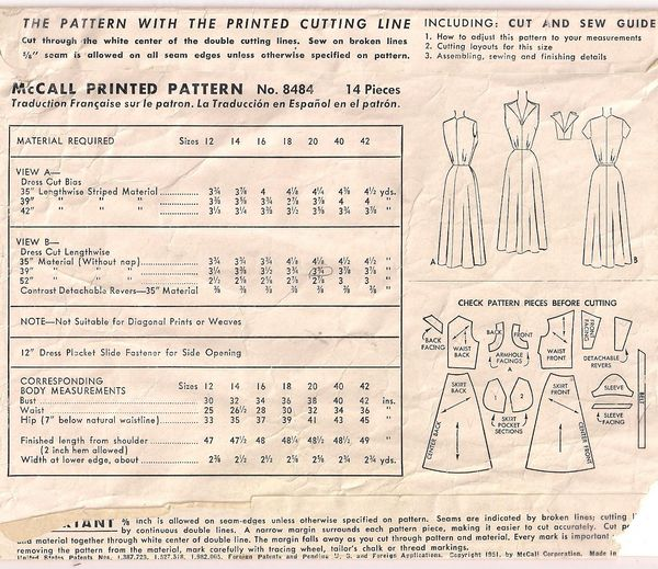 1950's McCall's 8484 V Neckline Bias Dress Pattern Bust 38