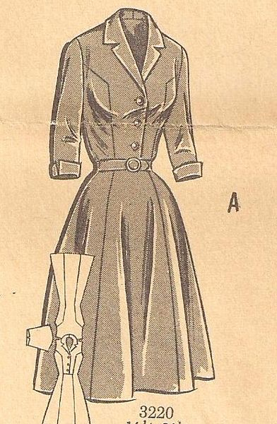 1950's Princess Seam, Buttoned Bodice Dress Pattern Bust 41