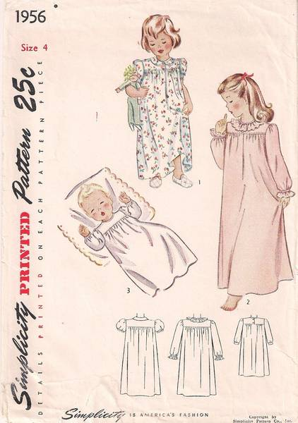 1940's Child's Yoked Nightgown Pattern Size 4