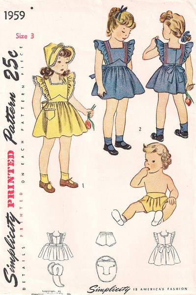 1947 Child's Pinafore, Hat and Panties Vintage Pattern Size 3