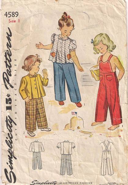 1940's Simplicity 4589 Childs Pleated Top, Overalls Pattern Sz 1