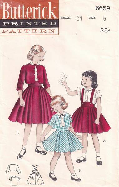 1950's Girls Suit with Blouse, Suspender Skirt Pattern Size 6