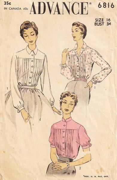 1950's Advance 6816 Tuck Front Shirtwaist Blouse Pattern Bust 34