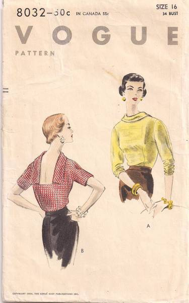 1950's Vintage Vogue 8032 Low Back Blouse Pattern Bust 34