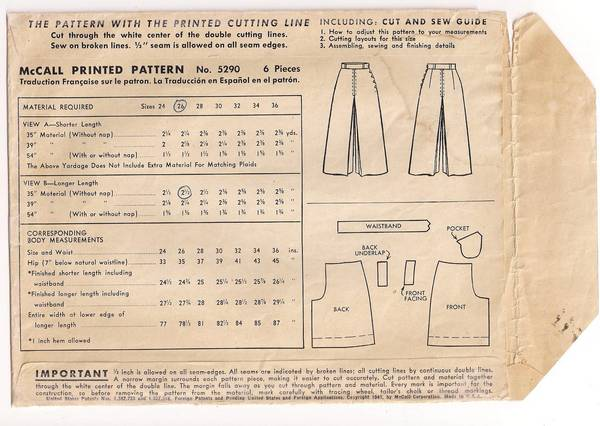 1940's McCall 5290 Ladies' Culotte Pattern Waist 26 - Click Image to Close