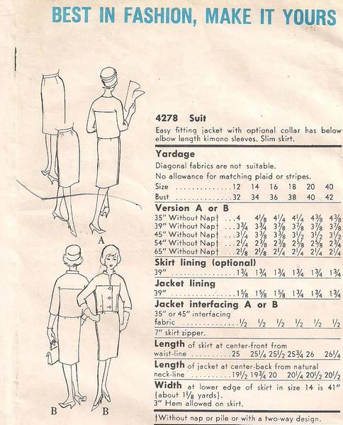 1960's Vogue 4278 Suit Pattern Easy Fitting Jacket Bust 34