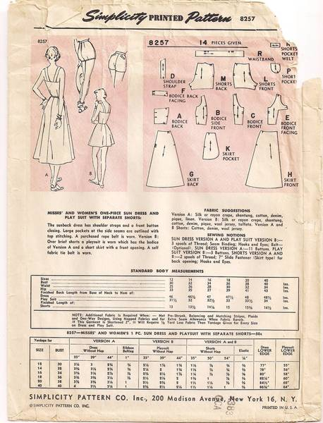 1950's Simplicity 8257 Sun Dress, Play Suit, Shorts Pattern B32