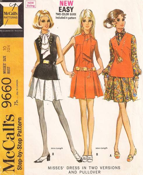 1960's Vintage McCall's 9660 Mod Mini Box Pleat Dress Pattern - Click Image to Close