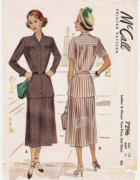 1940's McCall 7296 Two Piece Suit Dress Pattern B36