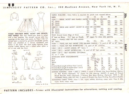 50's Simplicity 8467 Slim Sheath Detachable Skirt Panels Pattern