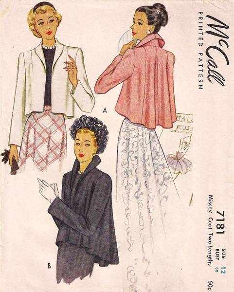 Vintage 1940's McCall 7181 Short Evening Coat Jacket Pattern