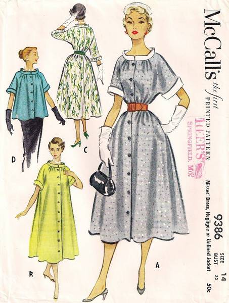 Vtg 50's McCall's 9386 Negligee, Dress and Jacket Pattern