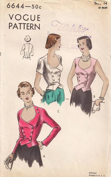 50's Vogue 6644 Plunging Neckline Double Breasted Jacket Pattern
