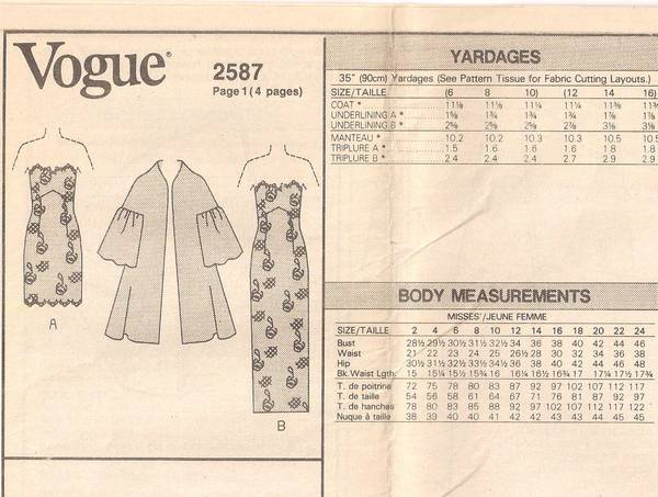 Victor Costa Vogue 2587 Gown, Evening Dress, Coat Pattern