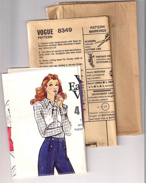 70's Vtg Vogue 8349 Front Buttoned Flared Pants Pattern