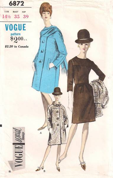 1970's Vintage Vogue 6872 Straight Coat and Dress Pattern