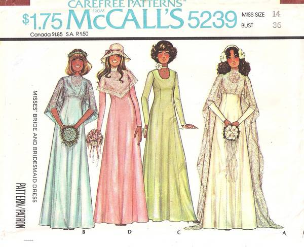 Vintage 70's McCalls' 5239 Bridal Gowns and Cape Pattern Bust 36