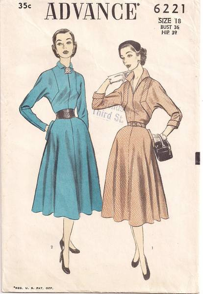 Advance 6222 Banded Bodice Dress 50's Pattern Bust 36