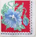 Red and White Vintage Hankie with Blue Poppies