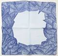 Blue on Blue Abstract Leaf Petal Face Border Hankie