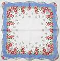 Daisies and Roses Scalloped Edge Large Hankie