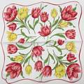Red and Yellow Tulips Vintage Hankie