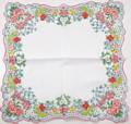 Flower Garden Border Scalloped Edge Vintage Hankie