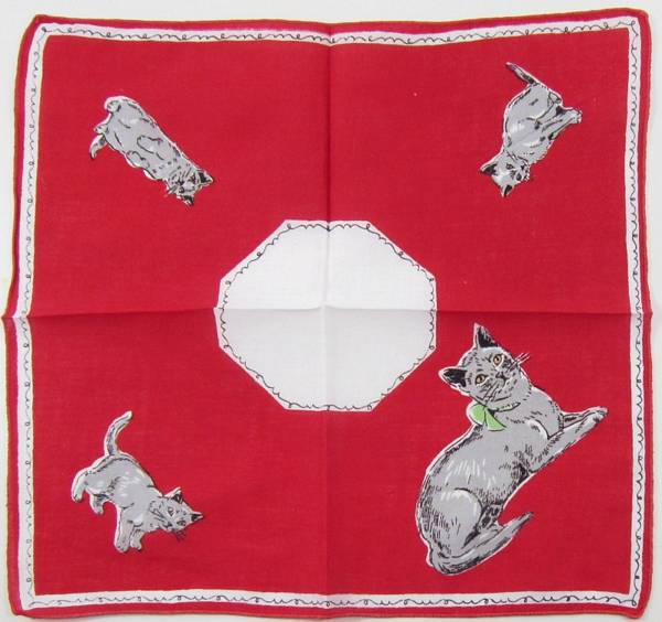 Gray Cat and Kittens Vintage Hankie