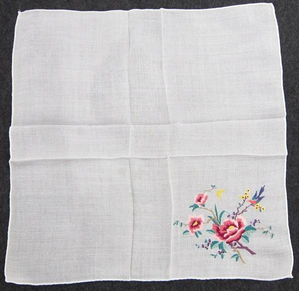Hummingbird, Butterfly, Flowers Embroidered Hankie