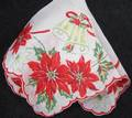 Poinsettias and Bell Large Fancy Vintage Christmas Hankie