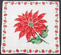 Poinsettia Center and Border Vintage Christmas Hankie