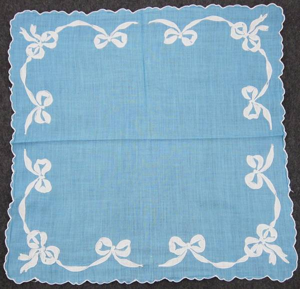 Ocean Blue Hankie with White Bow Garland Border