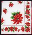 Medium and Small Pointsettias Vintage Christmas Hankie