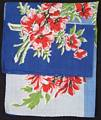 Bold Blue, Red and Green Floral Vintage Hankie