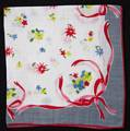 Primary Color Poesies, Gray Border Vintage Hankie
