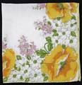 Yellow Poppies and Dogwood Blossoms Vintage Hankie