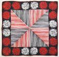 Black, Red, White Abstract Pom Pom Floral and Stripes Hankie