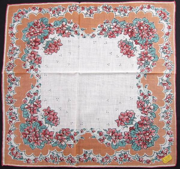 Peach and Turqoise Floral Vintage Kimball Hankie