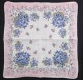 Pastel Pink, Blue Flowers and Scrolls Vintage Hankie