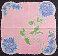 Blue Dahlias and Pentunias Pink Background Vintage Hankie