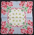 Pink, Blue and Yellow Roses Flowers Vintage Hankie