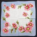 Pink Daisies and Sky Blue Vintage Cotton Hankie