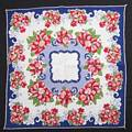 Navy Blue, Dark Pink and White Floral Pattern Vintage Hankie