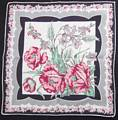 Rosy Pink Poppies, Black and Gray Vintage Hankie