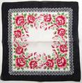 Black Border, Red Roses Vintage Hankie