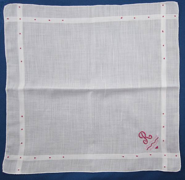Monogram R Cranberry Red on White Vintage Hankie