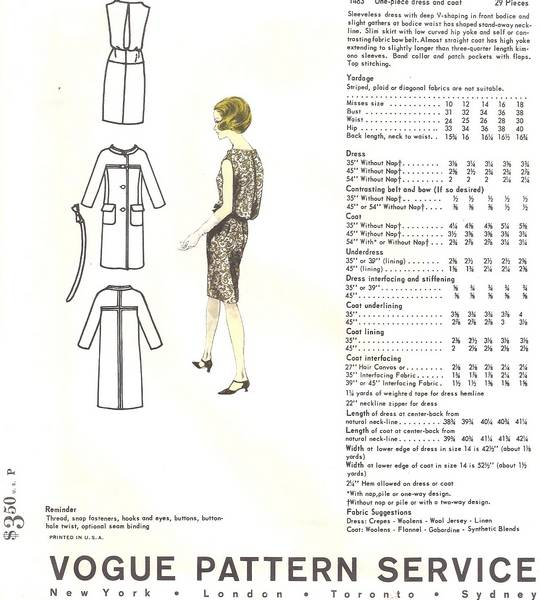Laroche Vogue 1483 Dress and Coat 60's Pattern Bust 34 - Click Image to Close